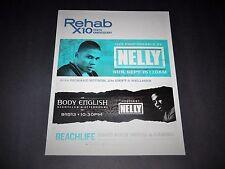 "Nelly Rare Rap Music Concert Las Vegas 2013 Matted Promo Ad/Art 15""x12"" New"