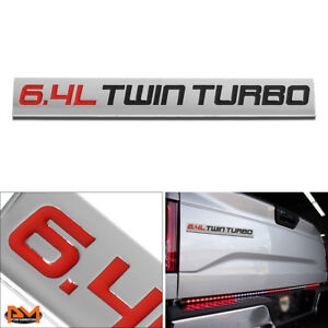 """6.4L TWIN TURBO"" Metal 3D Decal Red&Black Emblem Exterior logo For Ford Pickup"