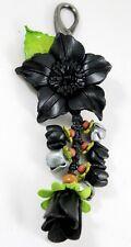 Black Genuine Leather Keychain KeyRing Purse Women Charm Flower Floral Leaf Hook