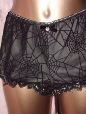 HALLOWEEN JOB LOT TWO BLACK HALLOWEEN WEB KNICKERS PANTIES 2 PAIR SIZE LARGE