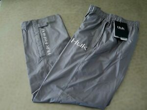 HUK H4000016 010 MENS CHOOSE SIZE GRAY PACKABLE FISHING & RAIN PANTS $100+