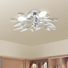 Ceiling Light Lamp White Transparent Acrylic Crystal Leaf Arms 3 E14 Bulbs