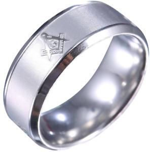 Masonic Silver Stainless Steel Titanium Band Ring Wedding Engagement Size 7