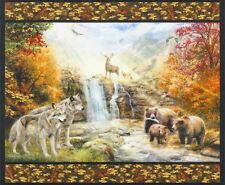 Picture This Panel-Kaufman-1 Yd. Panel-Wolves-Deer-Eagle-Bears-Digital Print