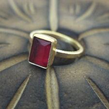 Handmade Designer Baget Ruby Ring  24K Gold Over 925K Sterling Silver