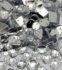150x Mixed Shape Clear Sew on Diamante Crystal Gems Rhinestone 5-15mm UK