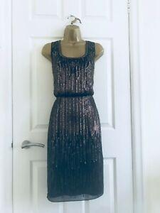 Monsoon Black Gold Sequin Artisan Hand Beaded Grecian Occasion Midi Dress £149