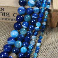 New Natural Blue Striped Agate Round Gemstone Loose Spacer Beads 4/6/8/10/12mm