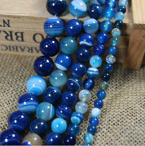 Natural Blue Striped Agate Round Gemstone Loose Spacer Beads Charm 4/6/8/10/12MM