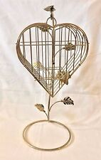 """Heart Shape Brass  Bird Cage with Butterfly W/Stand Hook Home Decor 19"""""""
