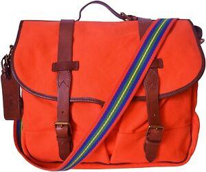 RALPH LAUREN MEN'S ORANGE POLO EQUESTRIAN CANVAS MESSENGER BAG
