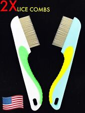 2X Lot STEEL HAIR LICE COMB BRUSHES NIT FREE TERMINATOR FINE EGG DUST REMOVAL