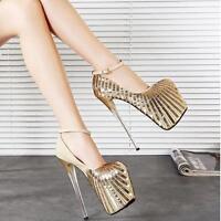 Women Platform Sequins High Heel Ankle Strap Stiletto Nightclub Shoes Sexy Pumps
