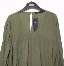M&S Marks s22 Green Cold Shoulder Fluted Sleeve Crinkle Kaftan Blouse Top BNWT