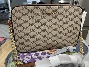 Michael Kors Jet Set Heritage Logo LG EW Chain Crossbody Bag Natural / Luggage