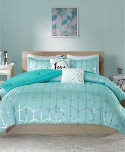 Intelligent Desing 5 Piece FULL/QUEEN Comforter Set Raina Geo AQUA 114