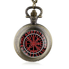 Pocket Mini Viking Compass Odin Thor Runes Stainless Steel+Chain 31 1/2in (