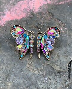 Betsey Johnson Fashion Rhinestone Crystal Butterfly Earrings Stud Party Women
