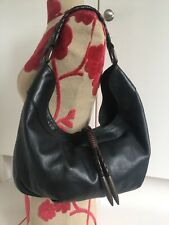 VGC Kenneth Cole New York Black Leather Rope Detail Slouch Hobo Shoulder Bag