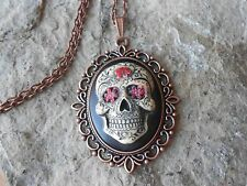 MEXICAN SUGAR SKULL HAND PAINTED CAMEO COPPER PENDANT NECKLACE - GOTH