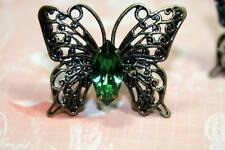 Flutterby Ring Brass Vintage Swarovski Crystal Emerald