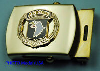 101st Airborne Wreath Army black Web Belt &  brass buckle  847