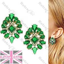 Boucles d'oreilles ornées style Vintage strass vert émeraude cristal BIG clous Gold P