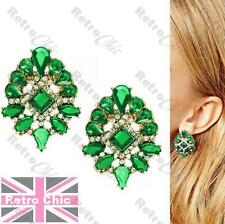 ORNATE vintage style EARRINGS rhinestone EMERALD GREEN crystal big studs gold p