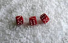 """(3) MINI MINI 3/16"""" SQUARE RED DICE SET"""