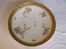 Antique Limoges France Charger Marshall Field'S Violets Gold Band