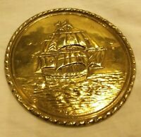Vintage Brass Small Plate with a Galleon Sailing Ship Design Great Condition