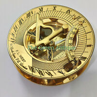 Brass Sundial Compass Vintage Antique Maritime Collectible Gift
