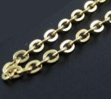 "28"" 3mm Stainless Steel Link Chain for Pendant Yellow Gold Tone Necklace STlnk3G"
