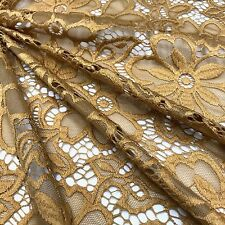 """Stretch Lace Fabric Floral Embroidery Poly Spandex 58"""" Wide BTY Wedding Florence"""