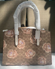 NWT COACH Tan/Chalk Signature Rose Print Charlie Carryall Tote Satchel