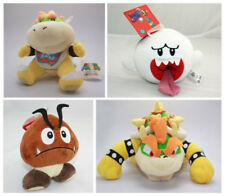 4pcs Super Mario Bros Goomba & Boo Ghost & King Bowser Jr Plush Doll Stuffed Toy