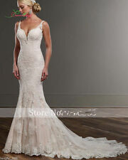 White/Ivory Lace Wedding Dress Mermaid Bridal Gown Custom Size 6 8 10 12 14+16++
