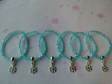 6 Frozen THEMES Blue Faceted Beads Stretch Bracelet-Girls Party Bag Fillers