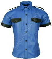 PREMIUM Mens Hot Genuine Real Blue Sheep LEATHER Police Uniform Shirt BLUF Gay