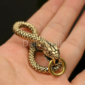 1xSolid Brass Retro Snake charms Pendant Keyring Clothing Bag Decor Parts Gift