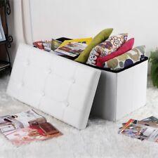 Songmics 120 L Pouf Contenitore Ottomane e Poggiapiedi 110 x 38 cm Bianco