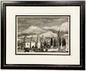 ALAN CRANE 20th c. American Lithograph CLOUDS AND SPIRES Rockport MA Artist