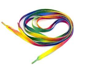 Pair Flat Rainbow Pride Shoe Laces Long Shoelaces Bootlaces 120cm L 8mm W