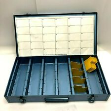 Logan Archival Slide Files Steel Metal Storage Box Blue Latch Handle Dividers
