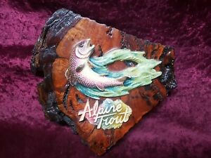 """VINTAGE FISHING WALL PLAQUE ALPINE TROUT """" COOMA CRAFT """""""
