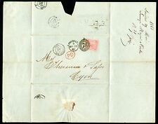 Sg66a, 4d rose, good used. Cat £210. COVER TO LYON MAY 1861