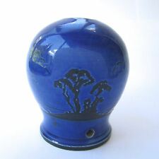 "Vintage Pottery Lamp Base Cobalt Blue with Black Rural Silhouette Landscape H 5"""