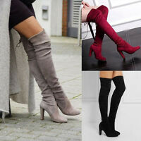 WOMEN THIGH HIGH OVER THE KNEE LONG BOOTS LACE UP BLOCK HEEL VINTAGE SHOES NEW