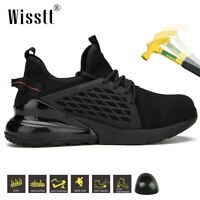 Mens Black Indestructible Safety Work Shoes Steel Toe Boots Lightweight Sneakers