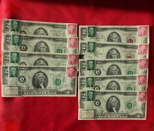 Paper Money ~ Lot of Nine US 1976 Jefferson $2 Bills, Uncirculated, with Stamps